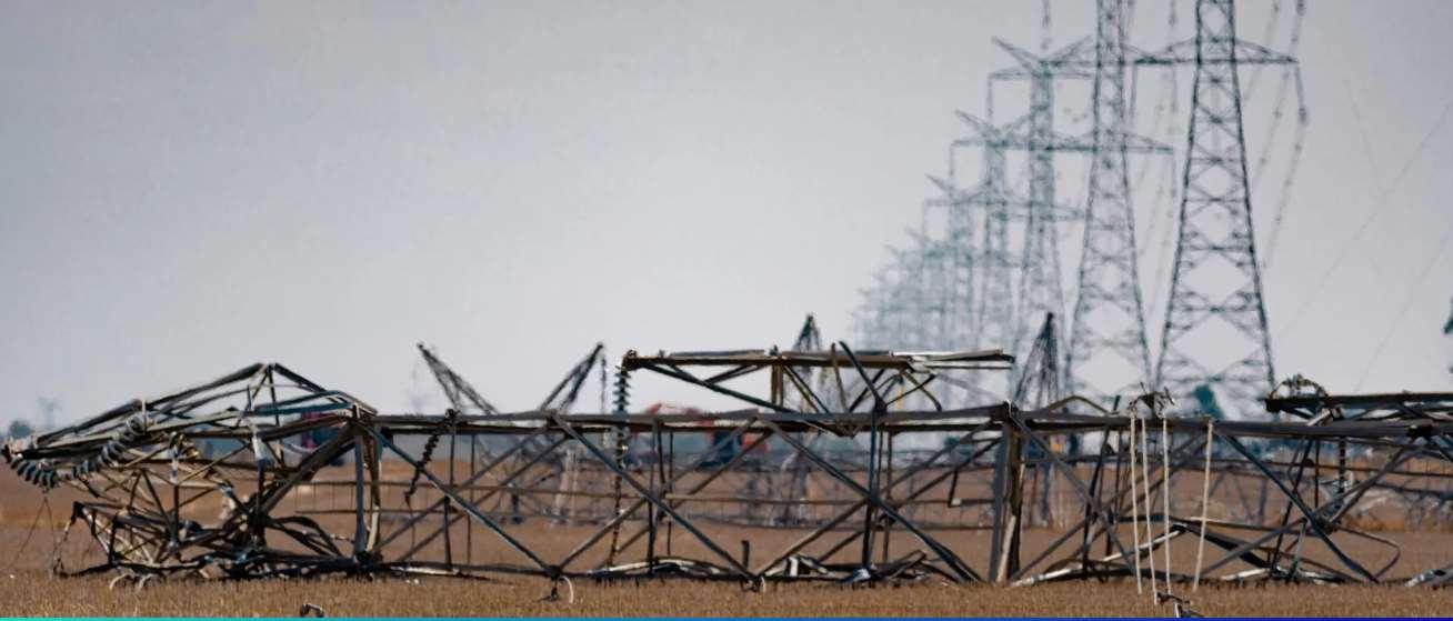 Fallen 500 kV double circuit tower