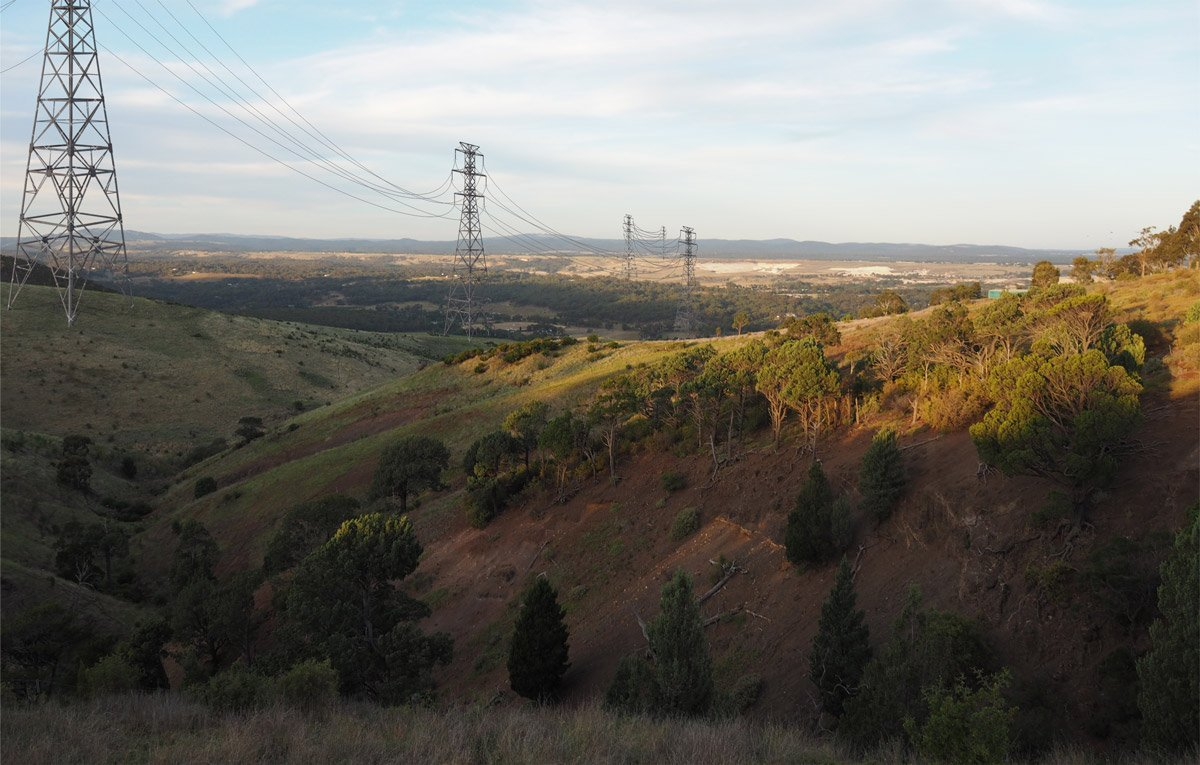 View from near Bald Hill with transmission lines superimposed