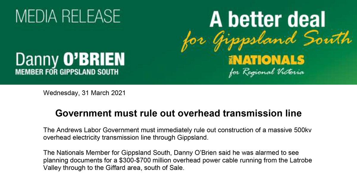 Government must rule out overhead transmission line